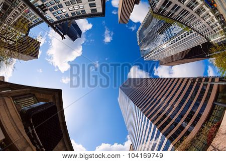 Fisheye view of skyscrapers in Seattle, USA