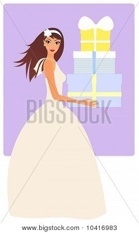 Bride with presents