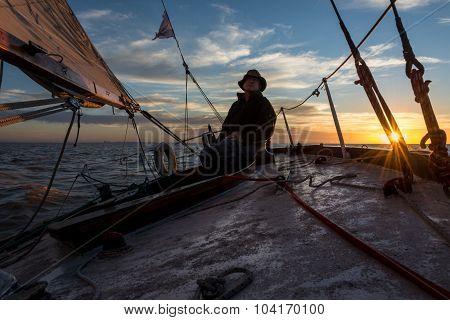 Captain Sailing Rio De La Plata River. Buenos Argentina.