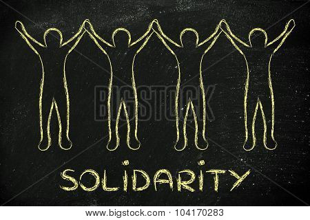 Group Of People Holding Each Other's Hands And Rejoicing