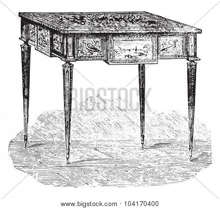 Work table, Louis XVI style (Louvre), vintage engraved illustration. Industrial encyclopedia E.-O. Lami - 1875.