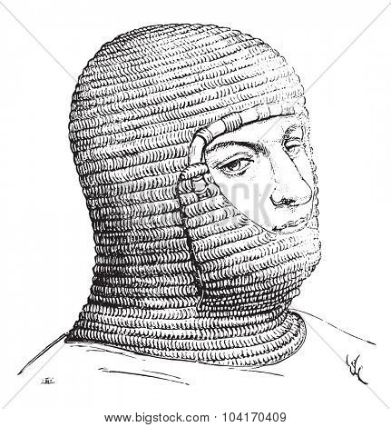 Coif of the soldiers in the Middle Ages, vintage engraved illustration. Industrial encyclopedia E.-O. Lami - 1875.
