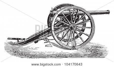90mm field gun, 1877 model, vintage engraved illustration. Industrial encyclopedia E.-O. Lami - 1875.