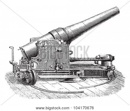 Chassis tuned half-turret gun 27 degree, vintage engraved illustration. Industrial encyclopedia E.-O. Lami - 1875.