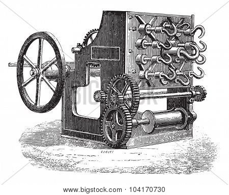 Spinner wholesale, vintage engraved illustration. Industrial encyclopedia E.-O. Lami - 1875.
