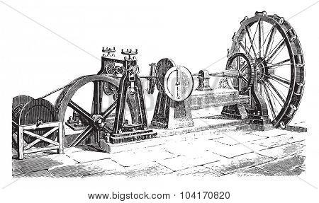 External cable coating machine, vintage engraved illustration. Industrial encyclopedia E.-O. Lami - 1875.
