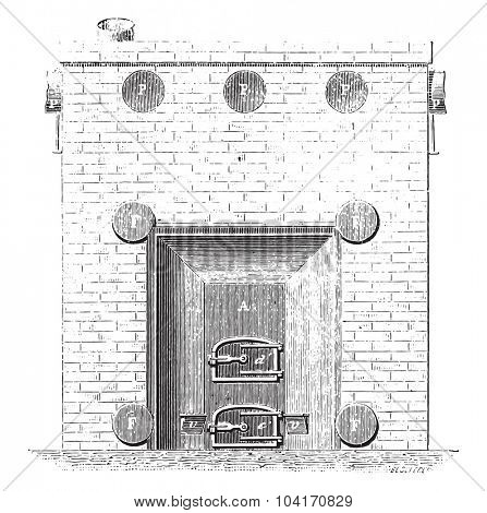 Front view of the basement furnace, vintage engraved illustration. Industrial encyclopedia E.-O. Lami - 1875.