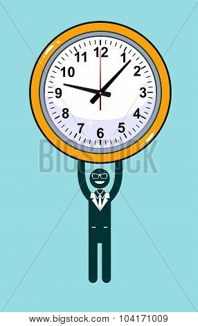 Abstract Businessman holding Time.