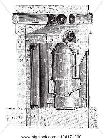 Vertical section of the cellar furnace along the line, vintage engraved illustration. Industrial encyclopedia E.-O. Lami - 1875.