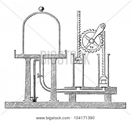 Air pump, vintage engraved illustration.