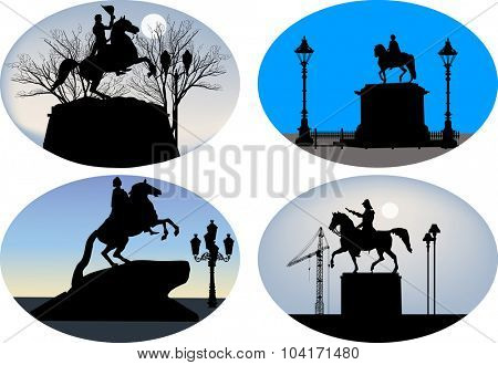 illustration with set of horseman statues