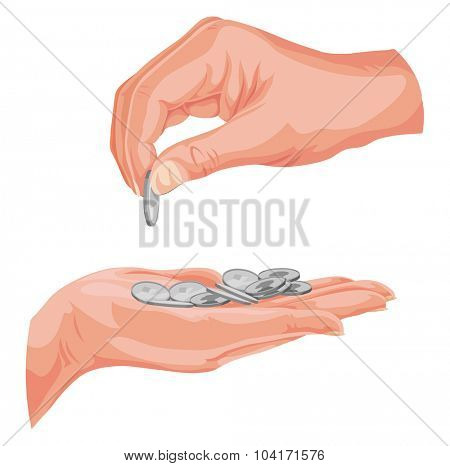 Vector illustration of hands with coins