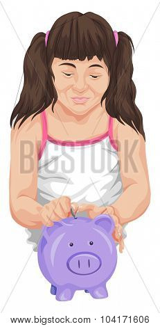 Vector illustration of girl saving coin in piggy bank.