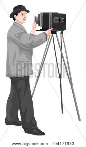Vector illustration of photographer with camera.