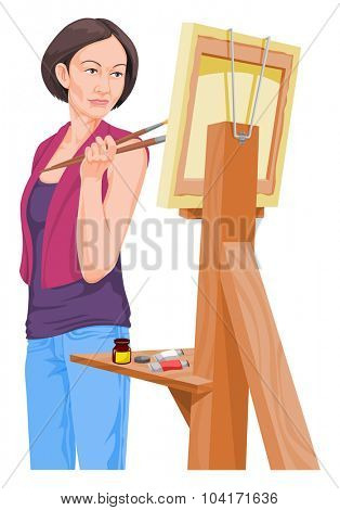 Vector illustration of female artist looking at her painting.