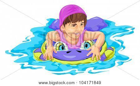Vector illustration of girl swimming using float.