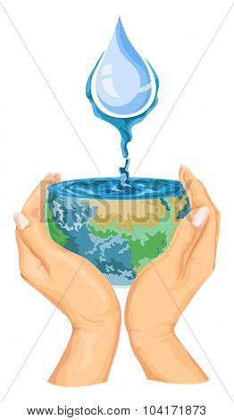 Vector illustration of water drops falling on earth in hands.