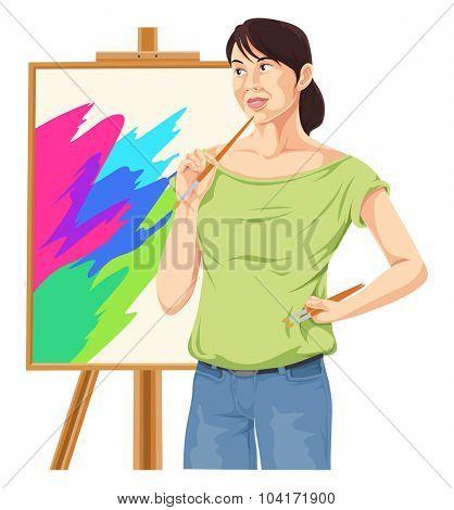 Vector illustration of female artist thinking.