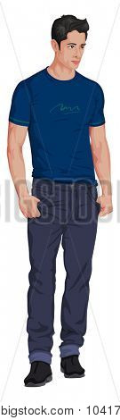 Vector illustration of stylish young man isolated on white.