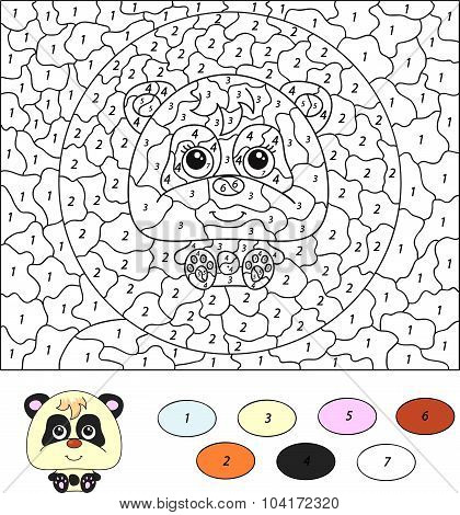 Color By Number Educational Game For Kids. Cartoon Panda. Vector Illustration