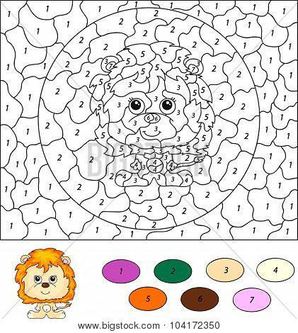 Color By Number Educational Game For Kids. Cartoon Lion. Vector Illustration
