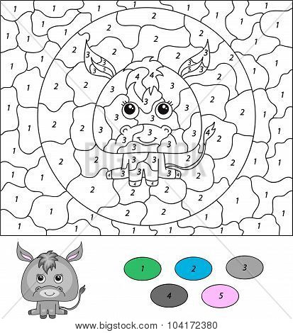 Color By Number Educational Game For Kids. Cartoon Donkey. Vector Illustration