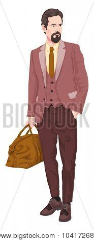Vector illustration of businessman with luggage.