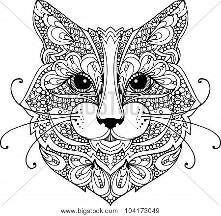 Hand drawn doodle illustration of a cat head decorated with zentangle ornaments