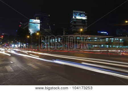 People Ride Motorbikes On A Busy Night Street On February 4, 2012 In Ho Chi Minh City, Vietnam