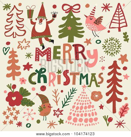 Lovely Merry Christmas card in vector. Stylish holiday set in cartoon style. Bright background with holiday symbols