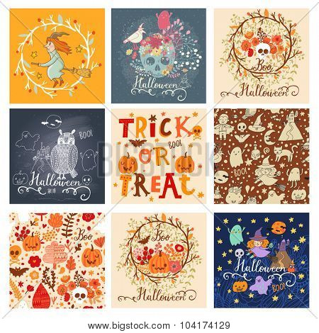 Trick or treat lovely holiday set in vector. 9 awesome halloween cards in bright colors. Stunning holiday collection