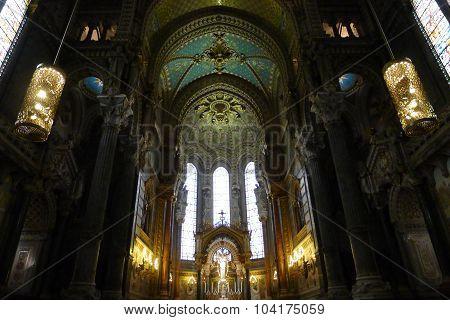 Interior of Basilica of Notre-Dame de Fourvière