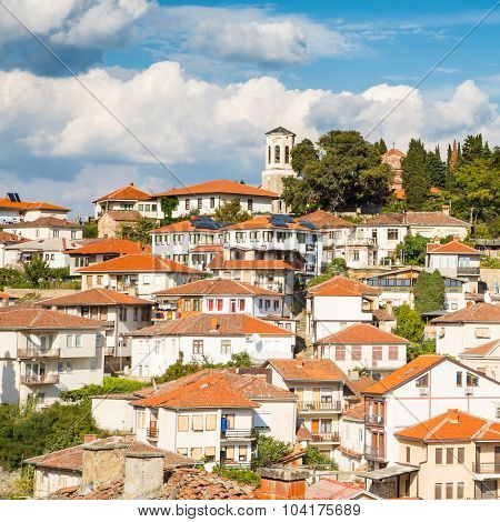 Houses with red roofs and tower in Ohrid, Republic of Macedonia