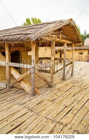The Bay of the Bones prehistoric houses,  Lake Ohrid, Republic of Macedonia