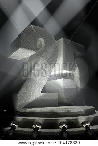 Anniversary Scene with TWENTY FIVE on pedestal