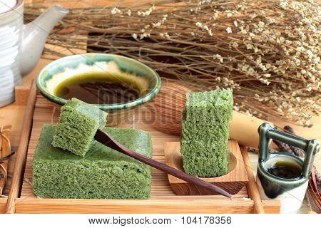 Green Tea Cake Japanese Dessert And Green Tea