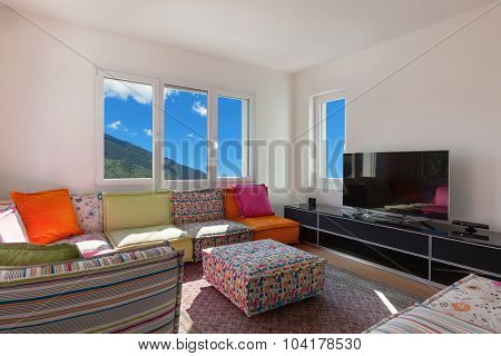 interior of a nice apartment furnished, sunny living room