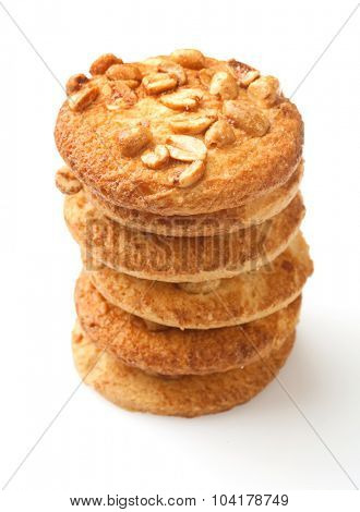 Cookies with peanuts on white background