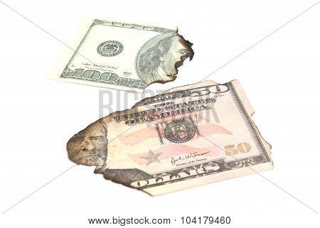 Some Burnt Dollars Banknotes