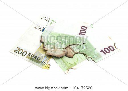 Burnt Euro Banknotes