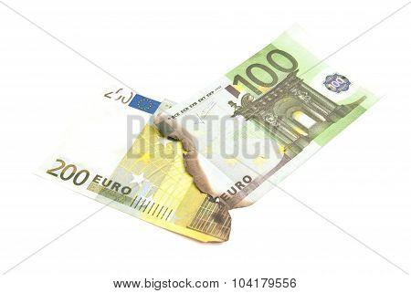 Burnt Euros Banknotes On White