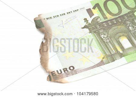 Burnt Bills Of Hundred Euro On White