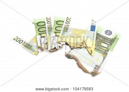 Some Burnt Bills Of Euro