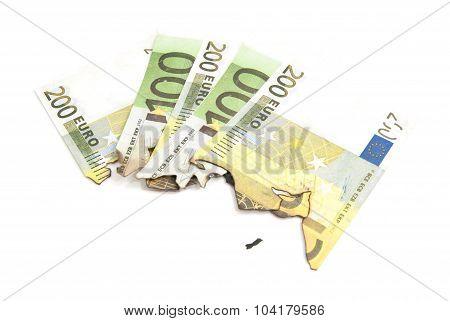 Burnt Bills Of Euro On White
