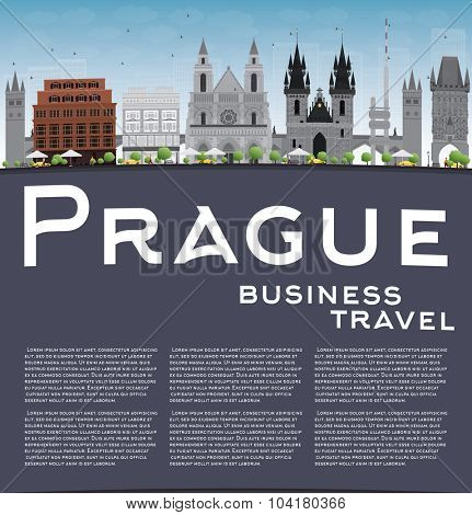 Prague skyline with grey landmarks, blue sky and copy space. Vector illustration. Business and tourism concept with old buildings. Image for presentation, banner, placard or web site