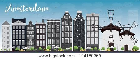 Amsterdam city skyline with grey buildings and blue sky. Vector illustration. Business travel and tourism concept with historic buildings. Image for presentation, banner, placard and web site.