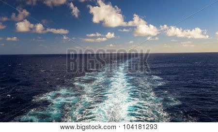 Wake Of A Cruise Ship Of The Coast Of Kauai, Hawaii