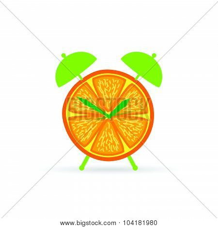 Orange Fruit Clock Color Vector