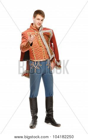 Actor Dressed In A Military Uniform Hussar