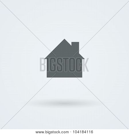 Mono icon with the image of the house, the cottage, the building of a country.